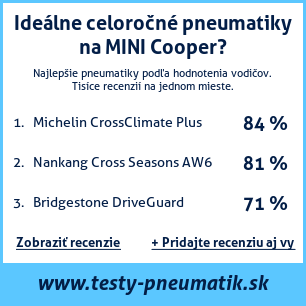 Test pneumatík na MINI Cooper