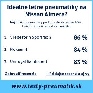 Test pneumatík na Nissan Almera